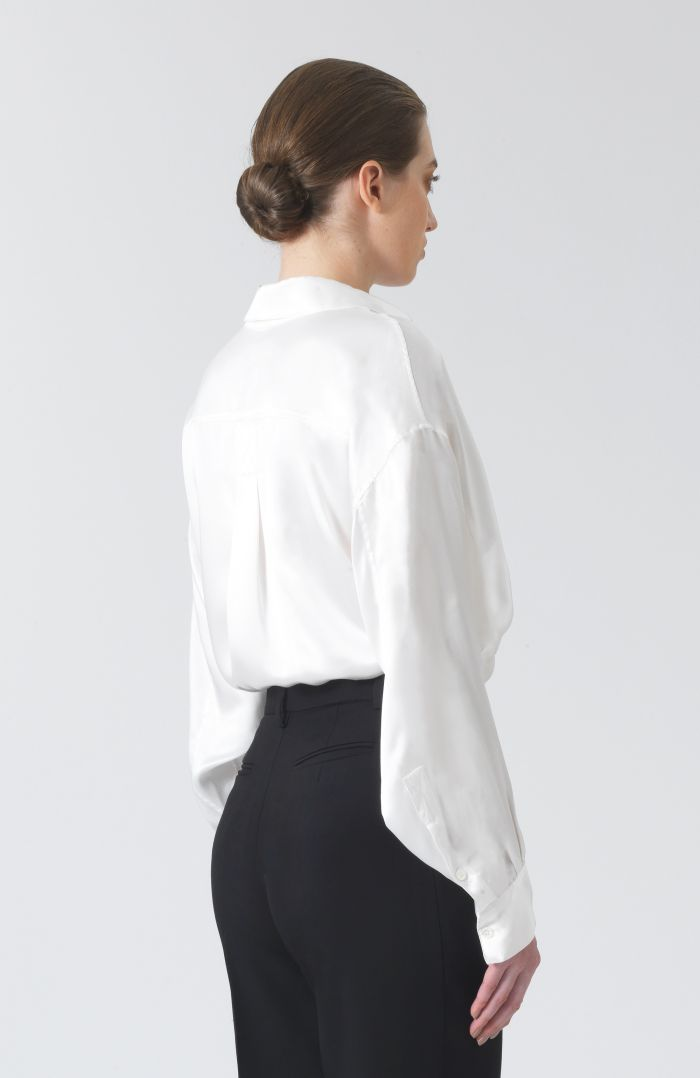 Nicola White Silk Satin Shirt