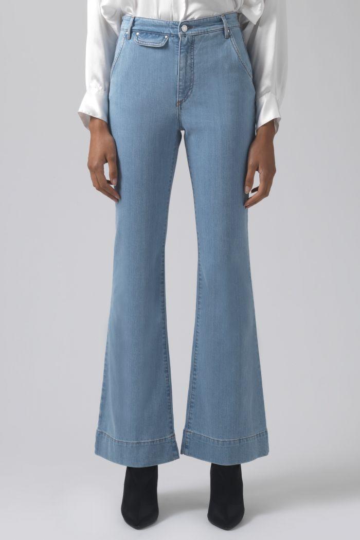 Marina light wash organic cotton trousers