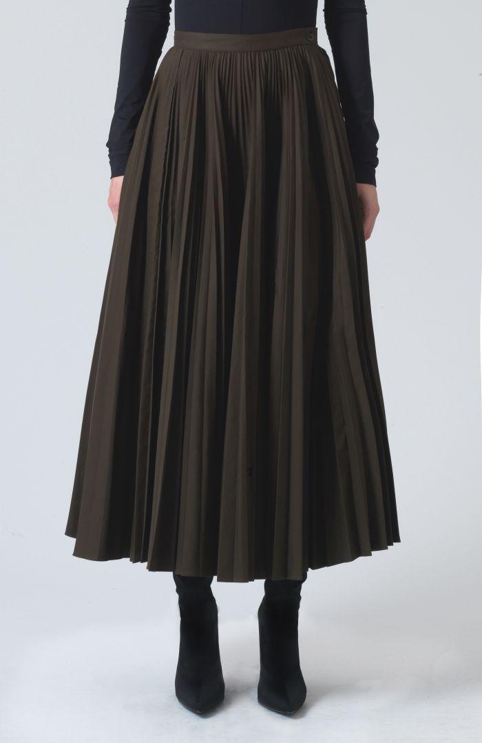 Ray Khaki Technical cotton Skirt