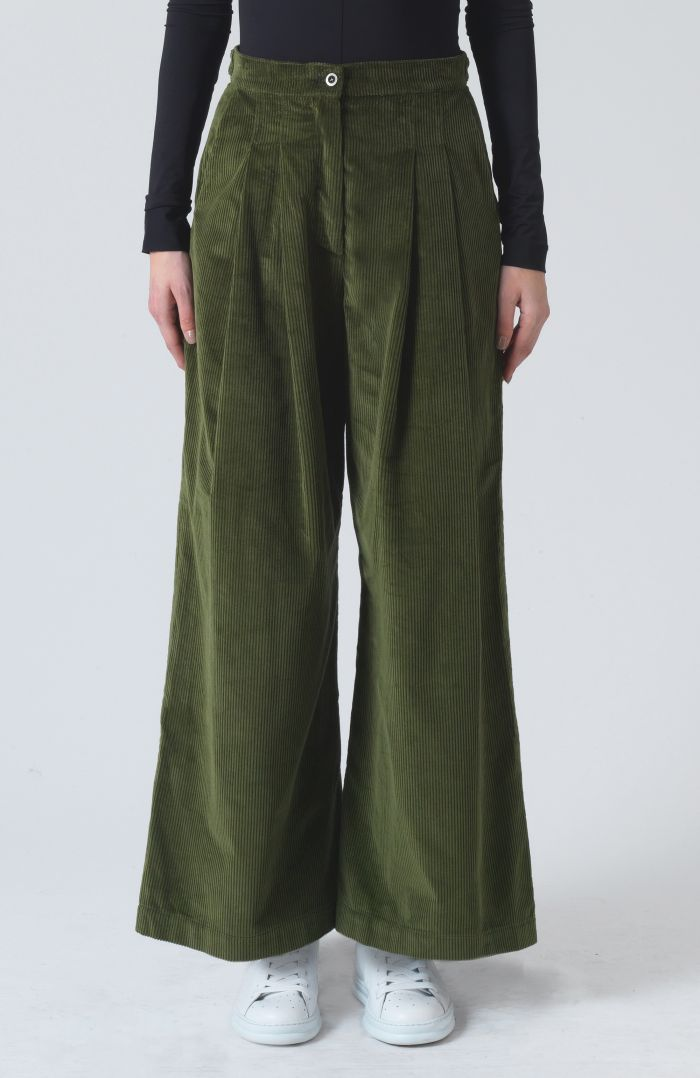 Ella Khaki Organic Cotton cord Trousers