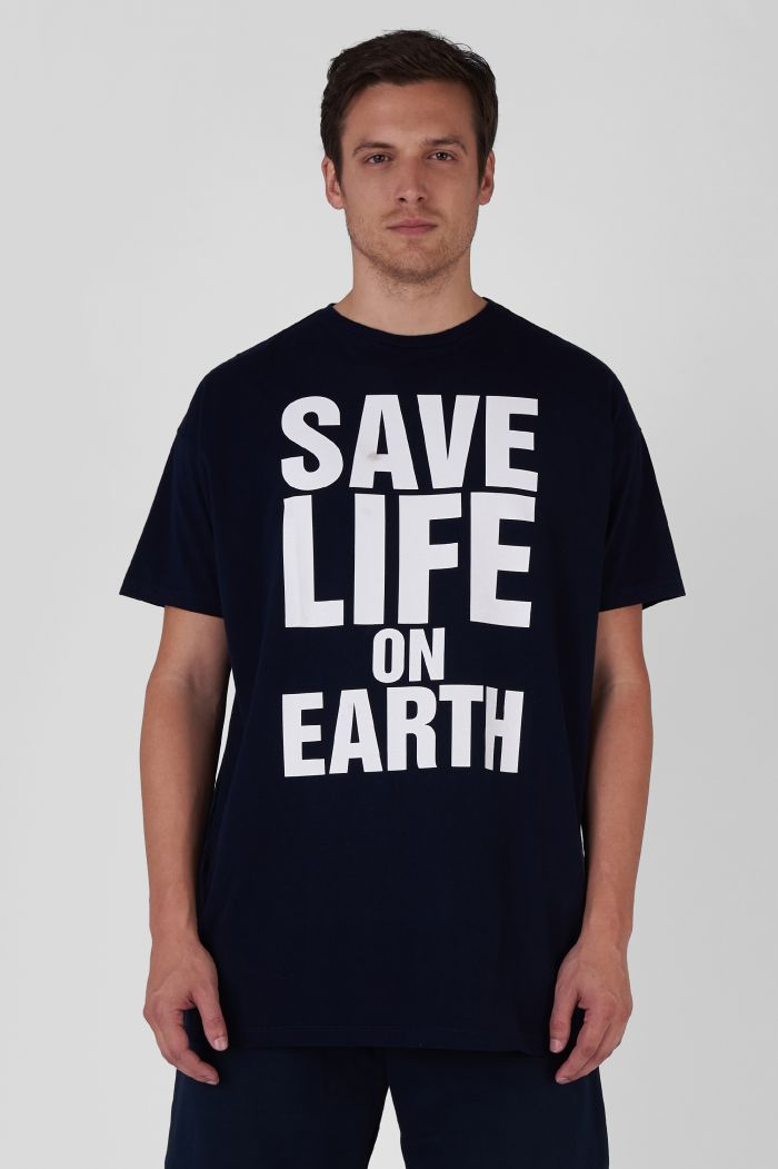 SAVE LIFE ON EARTH ORGANIC COTTON OVERSIZED NAVY T-SHIRT