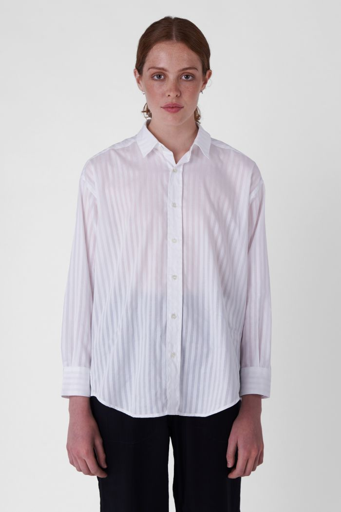 Nicola White Organic Cotton Striped Shirt