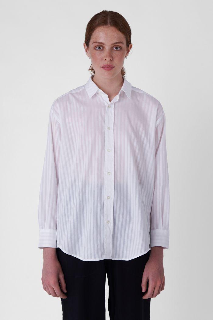 Nicola White Organic Cotton Striped Shirt
