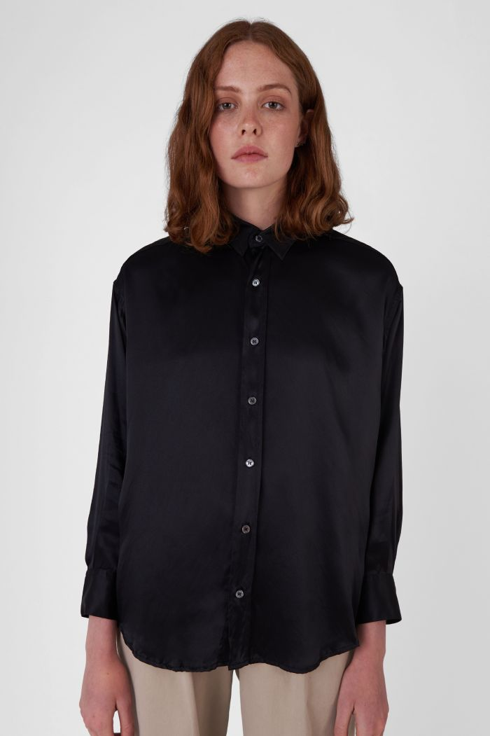 Nicola Silk Satin black oversized Shirt