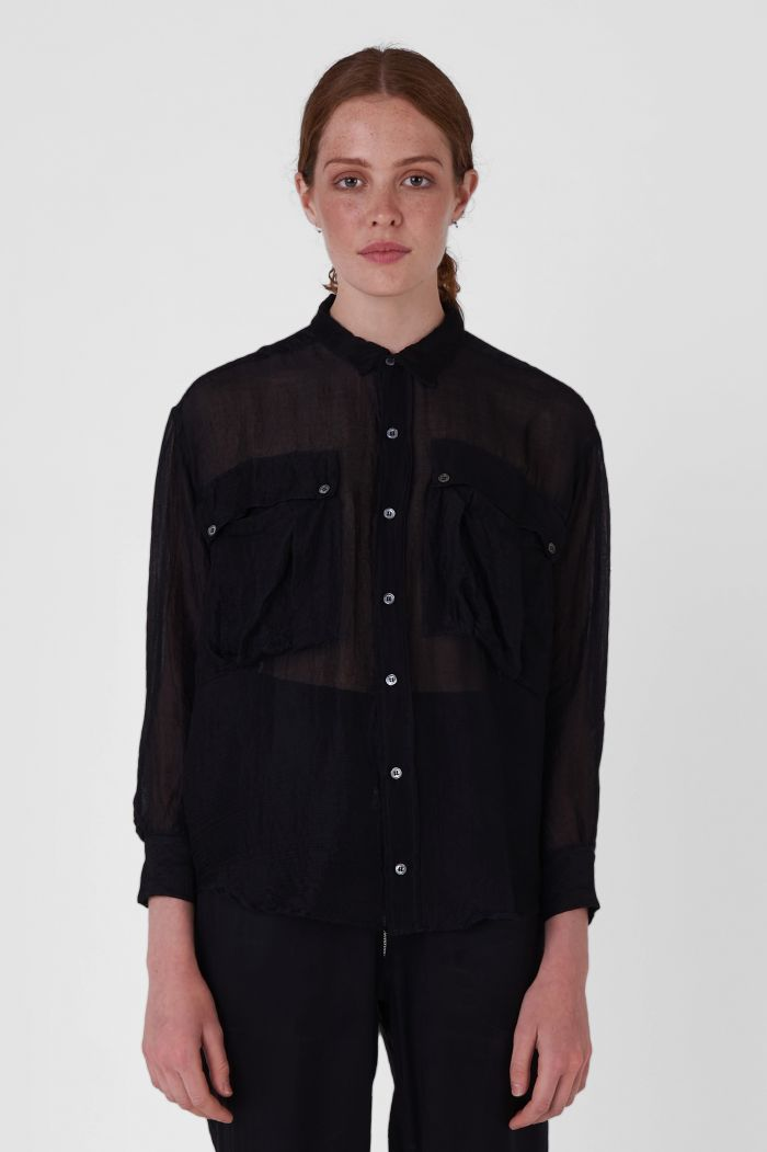 Alex Black Chiffon Shirt