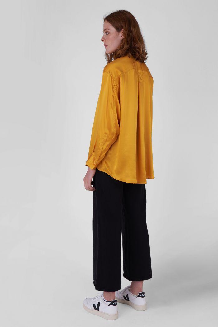 Nicola Silk Satin yellow oversized Shirt