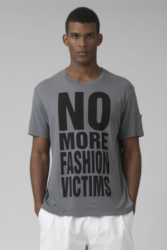 NO MORE FASHION VICTIMS Organic cotton grey t-shirt