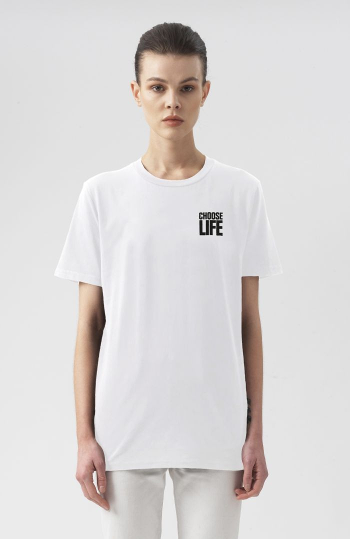 CHOOSE LIFE WHITE SMALL LOGO T-SHIRT