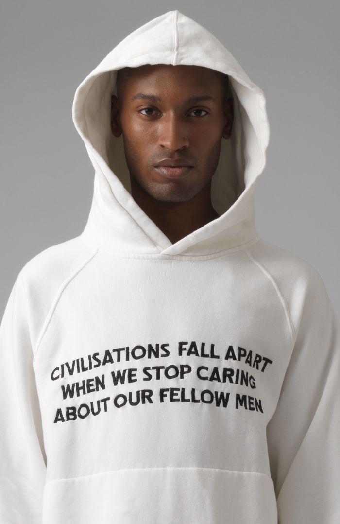 Rick white slogan organic cotton hoodie