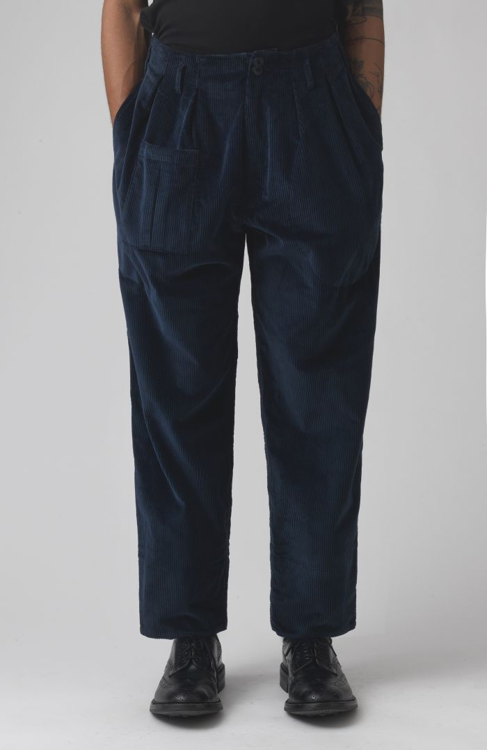 Xam Navy Organic cotton cord trousers