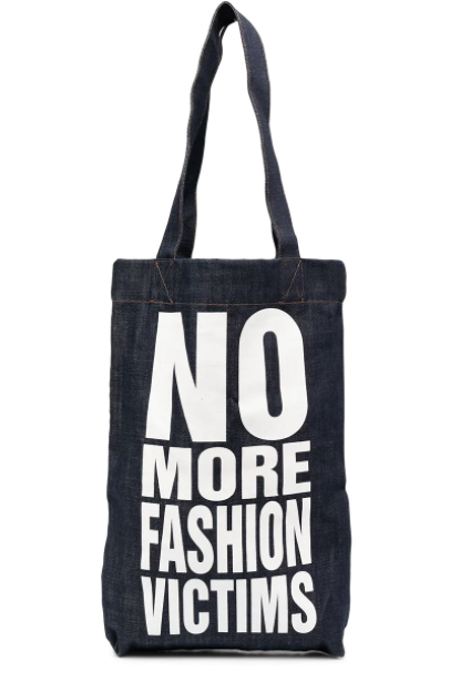 NO MORE FASHION VICTIMS DENIM BAG