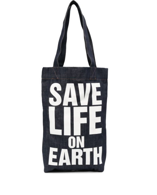 SAVE LIFE ON EARTH DENIM BAG