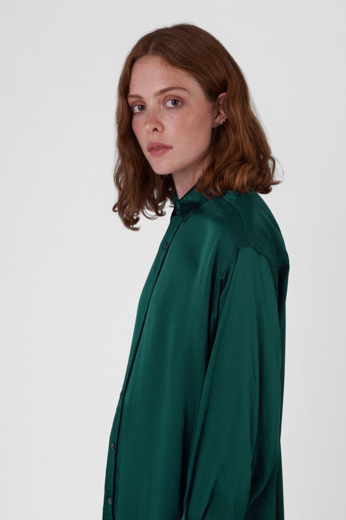 Nicola Green Silk Satin Shirt