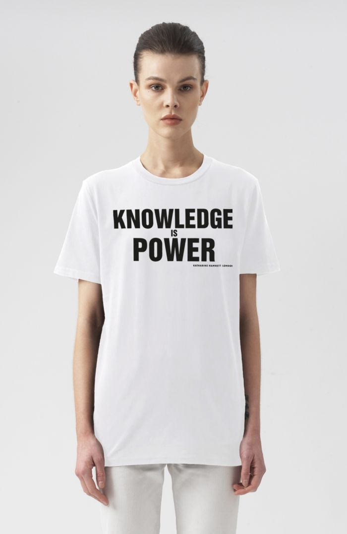 KNOWLEDGE IS POWER WHITE ORGANIC COTTON T-SHIRT