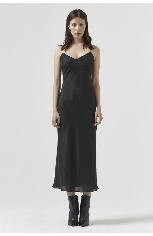 SARA BLACK SILK DRESS