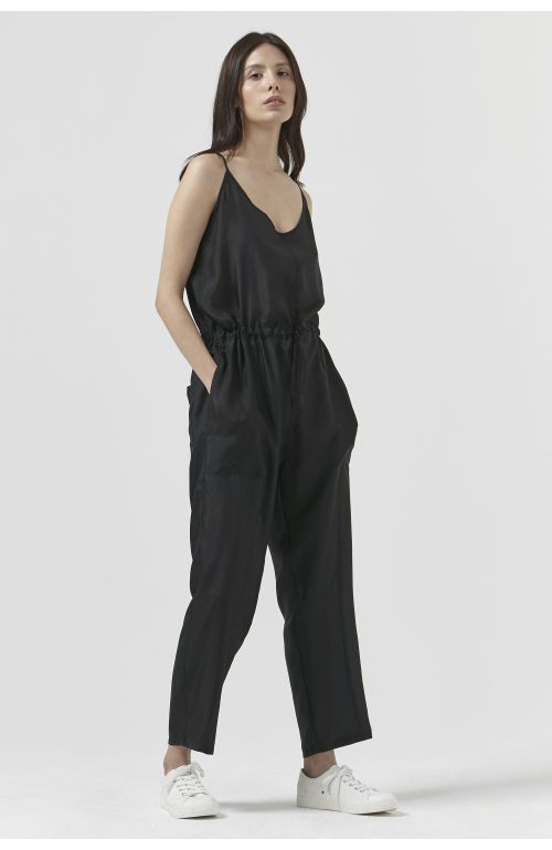 BERNADETTE BLACK SILK JUMPSUIT