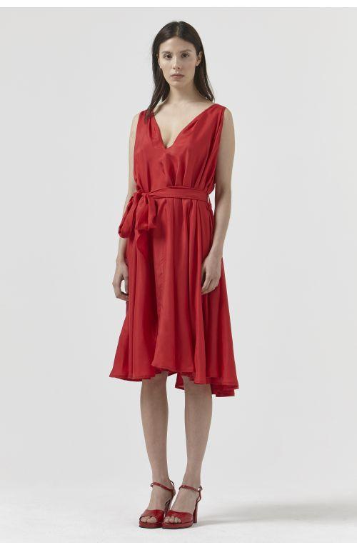 DORA RED SILK DRESS