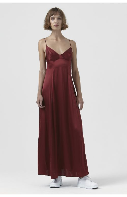 Madama Burgundy Silk Satin Dress