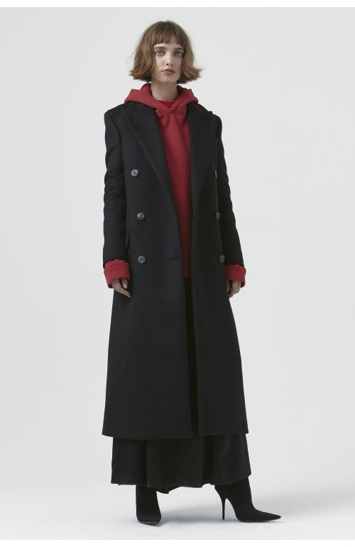 Simona Black Recycled Wool Coat
