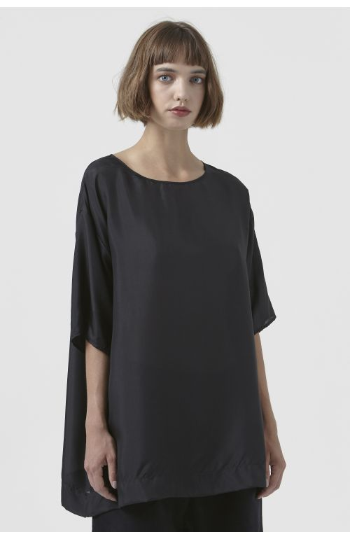 Maggie Black Silk T-Shirt