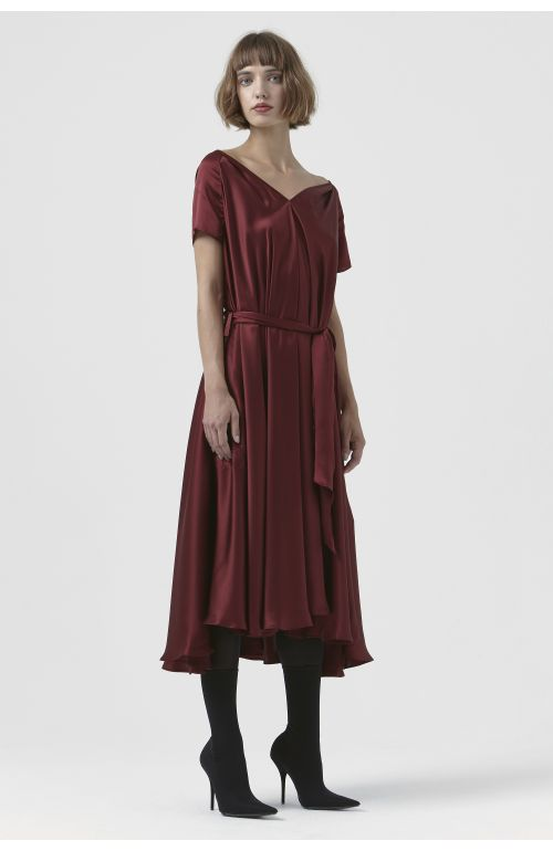 Isadora Burgundy Silk Dress