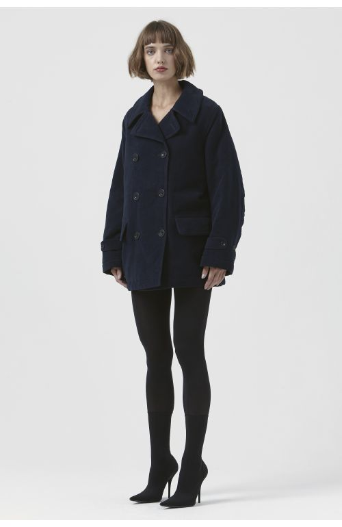 Marzia Navy Organic Cotton Pea Jacket