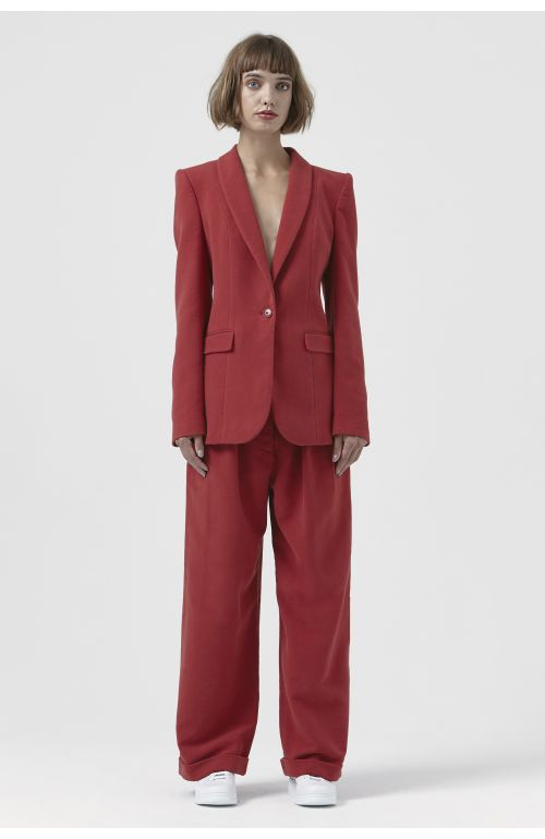 Sofia Red Organic Cotton Blazer