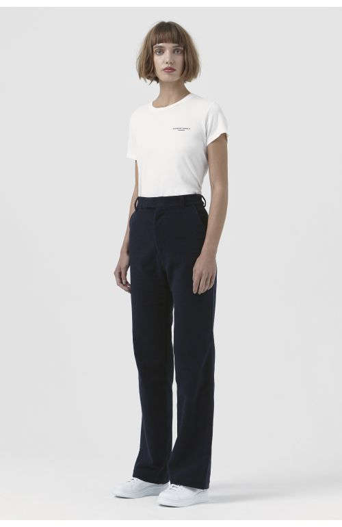 Adriana Navy Organic Cotton Trousers
