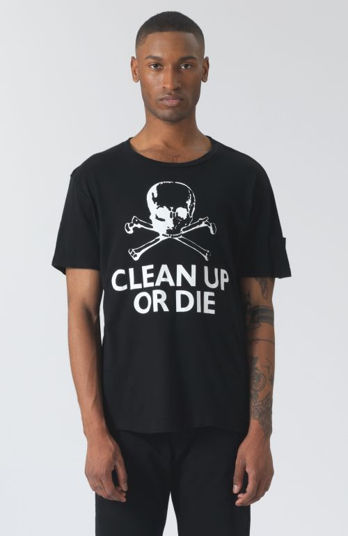 Clean Up Or Die Black Organic Cotton T-Shirt