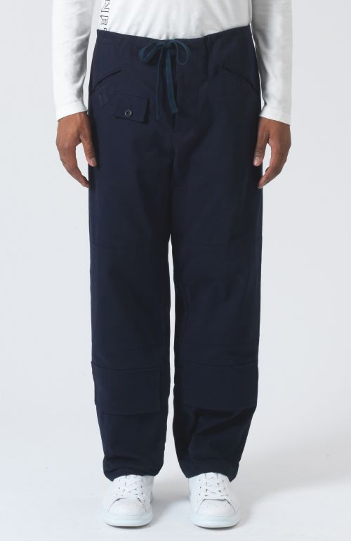 Eric navy organic cotton trousers