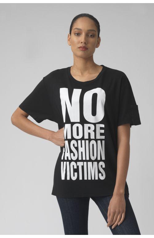NO MORE FASHION VICTIMS BLACK Organic cotton t-shirt