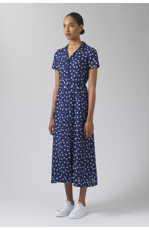 Amelia polka dots silk dress