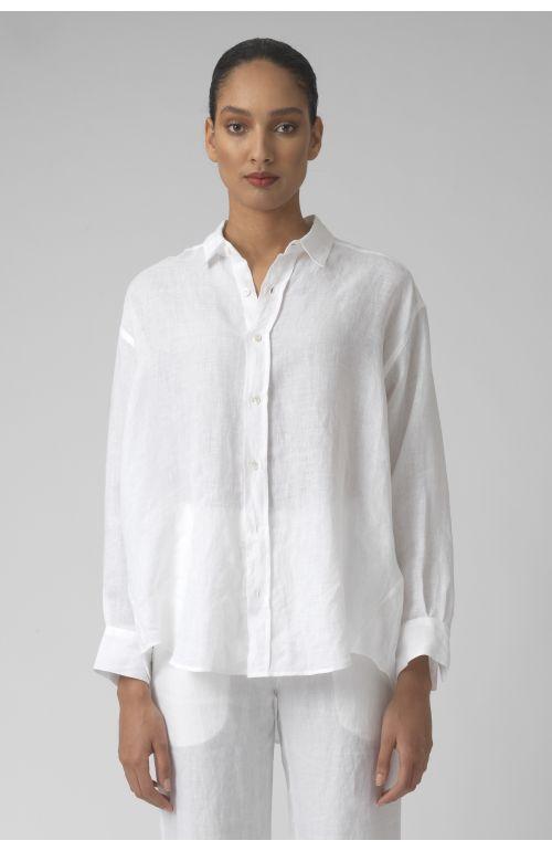 Nicola white LINEN shirt