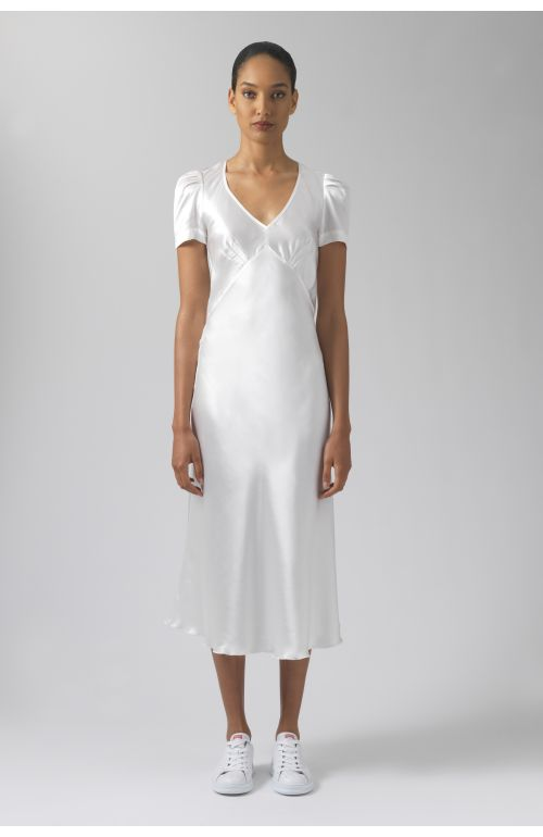 Maia white silk dress