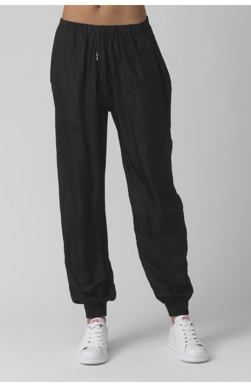 Silk black silk runner trousers