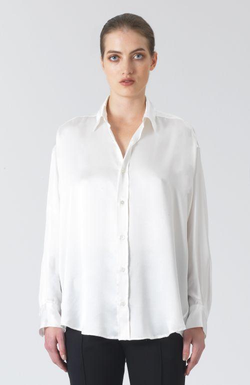 Nicola White Habotai Silk Shirt