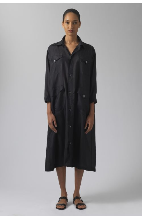 Katharine black silk dress