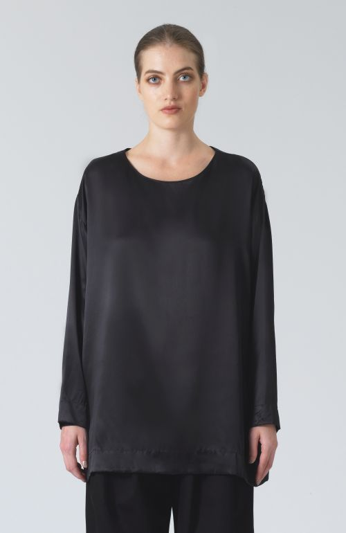 Meg Black Silk T-Shirt