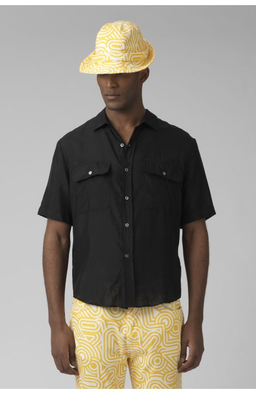 NIGEL BLACK SILK SHIRT