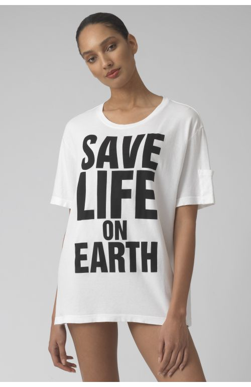 Save life on earth WHITE Organic cotton t-shirt