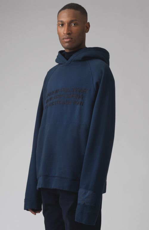 Rick blue slogan organic cotton hoodie