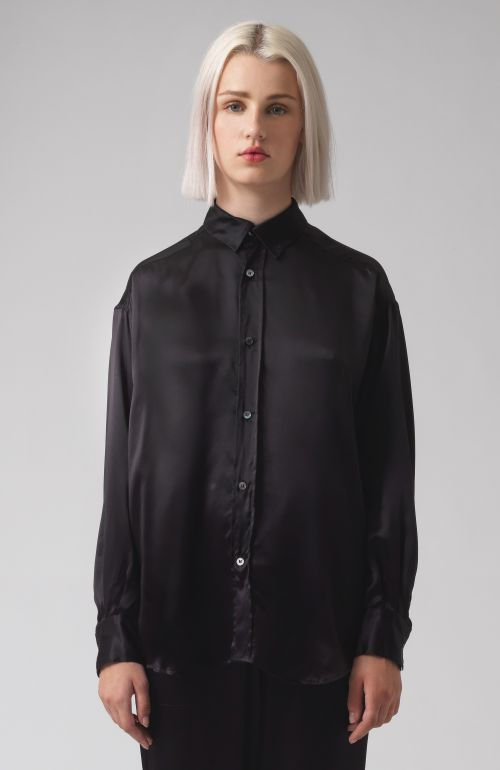 Nicola Black Habotai Silk Shirt