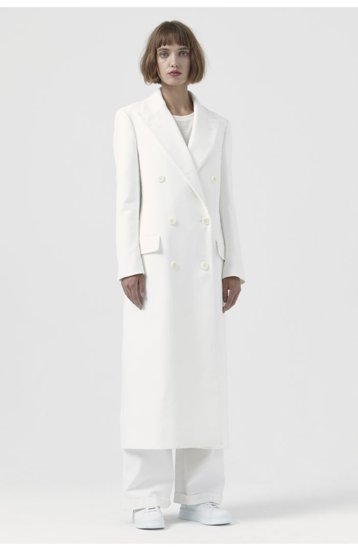 Simona White Organic Cotton Coat