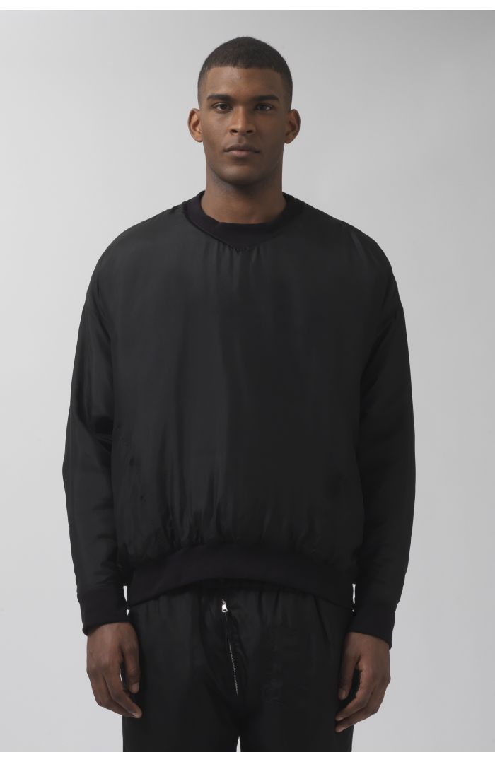 VINCE BLACK SILK SWEATSHIRT