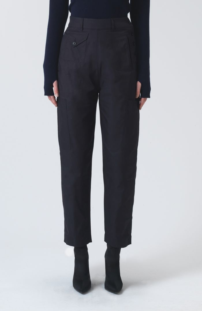 Denise Navy Technical Cotton Trousers