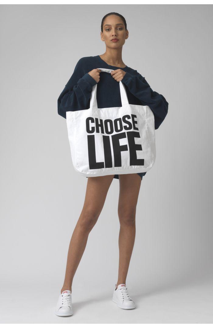 CHOOSE LIFE WHITE Organic cotton bag