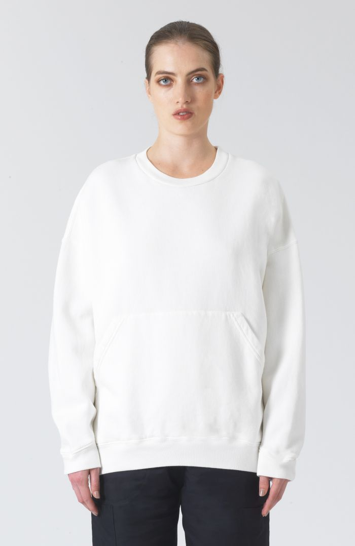Joey logo white organic cotton sweatshirt