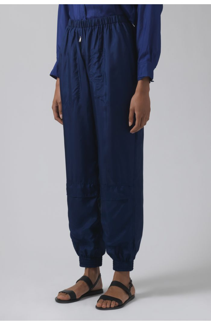 Silk deep blue runner trousers