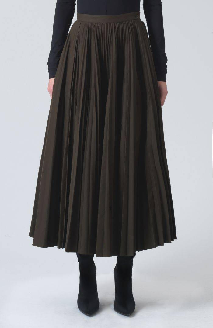 Ray Khaki Technical cotton Skirt