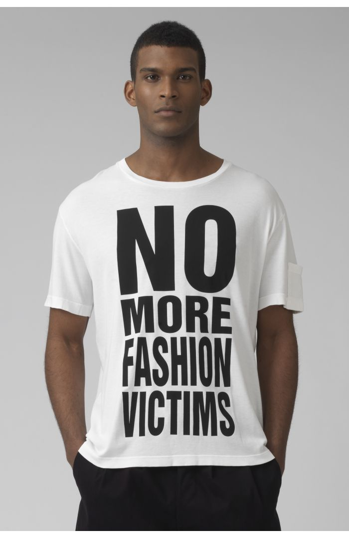 NO MORE FASHION VICTIMS organic cotton white t-shirt